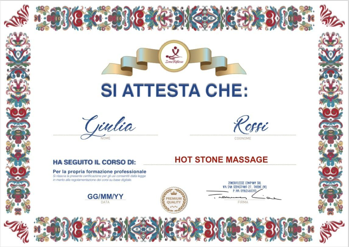 Attestato Hot stone massage